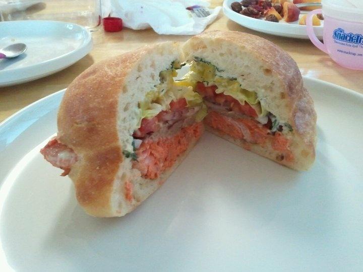 salmon burger on ciabatta bread | Food + Drink | Pinterest
