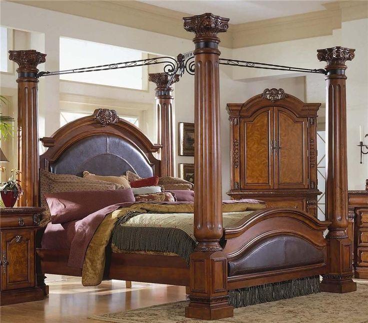Bedroom suite king four poster bed 2 matching bedside for Ebay bedroom suites
