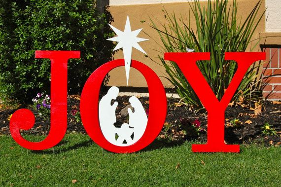 Joy nativity outdoor christmas holiday yard art sign for Christmas yard signs patterns