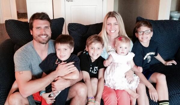 And r joshua morrow nick with wife tobe and their 4 kids sons