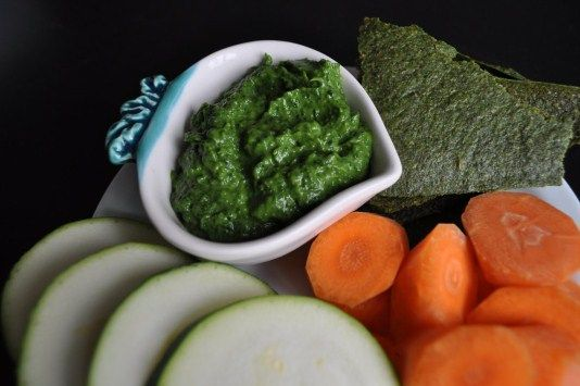 Lots of raw recipes on this website. This one is avocado spinach dip.