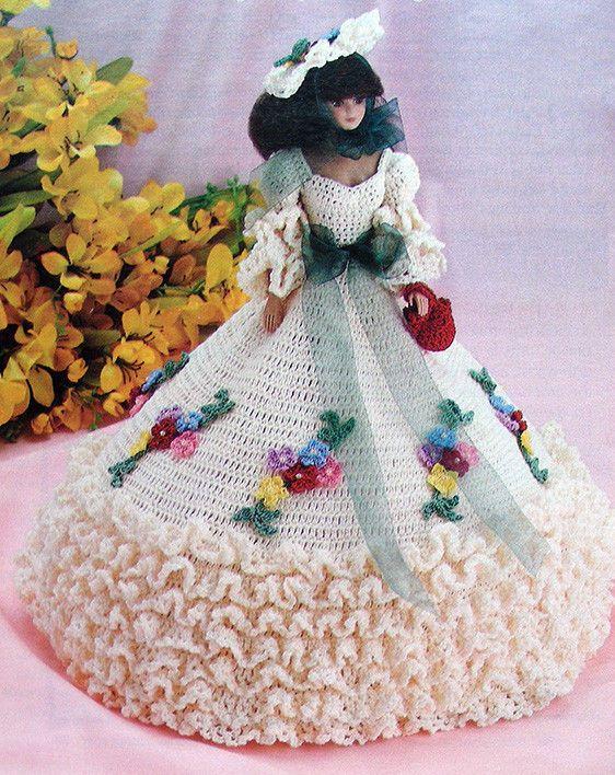 Crochet Pattern For Doll Purse : Crochet PATTERN ONLY ~ Barbies Garden Party Dress, Hat ...