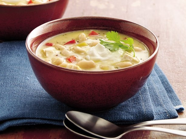 Easy chicken chili using rotisserie chicken and canned cream soups