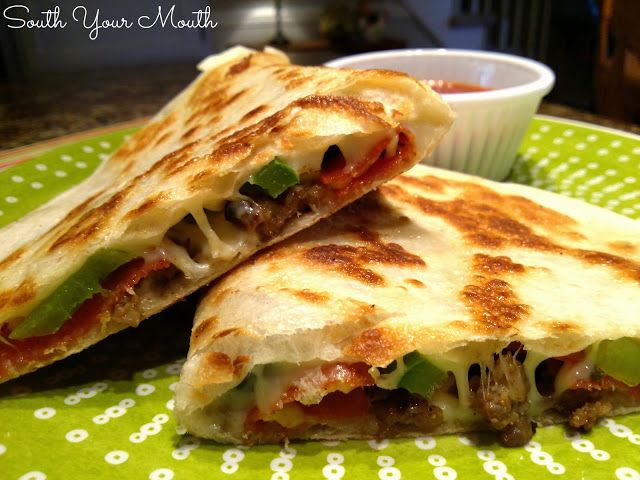 Pizzadillas -- basically, quesadillas filled with pizza toppings in a ...