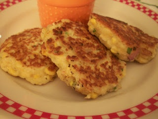 Shrimp & Corn Cakes with goat cheese | foods to try | Pinterest