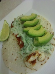 Blackened tilapia tacos with cilantro lime crema