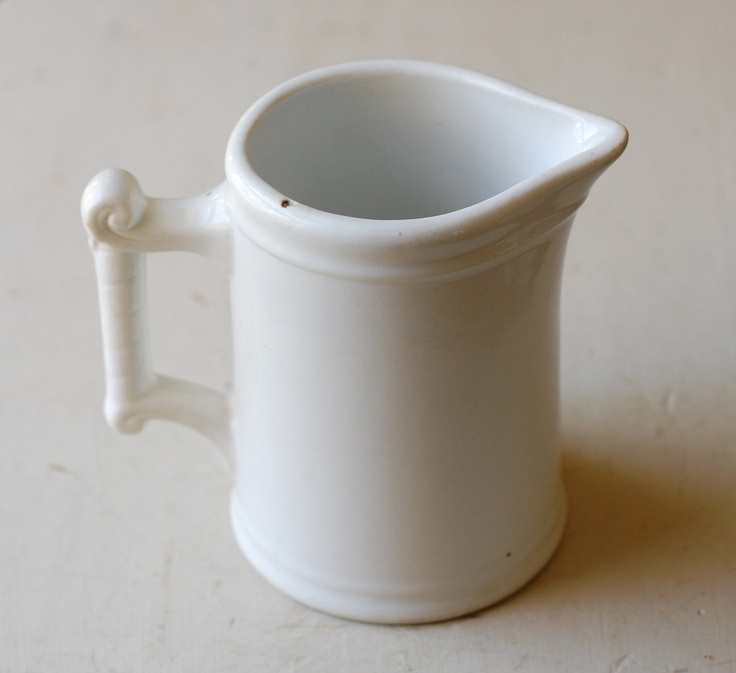 Vintage White Ironstone Milk Pitcher Heavy Simple