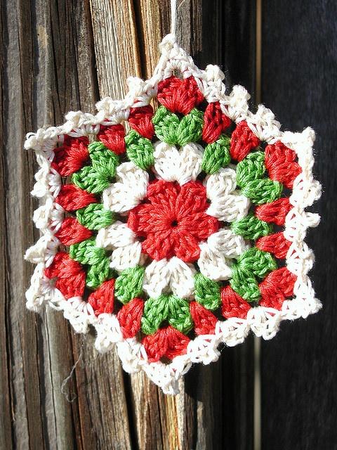 Free Crochet Granny Square Christmas Tree Pattern : Crochet Granny Square Ornament Christmas crochet Pinterest
