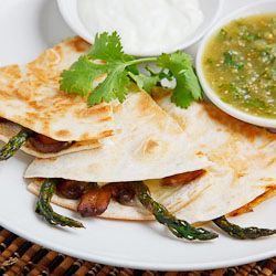 Roasted Asparagus, Caramelized Mushroom & Goat cheese quesadillas