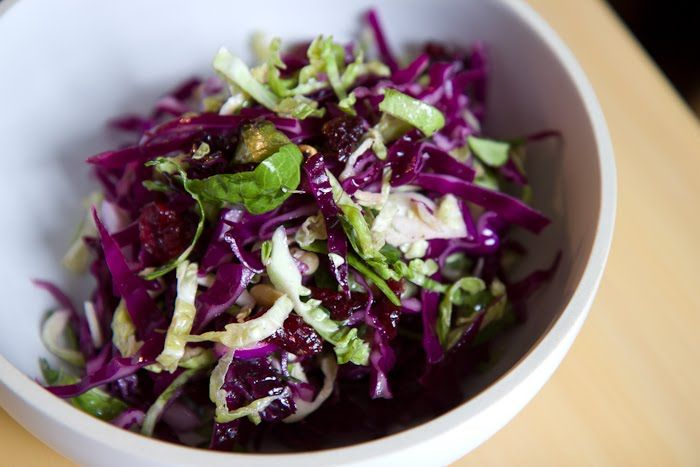 brussels sprout and red cabbage slaw with dried cranberries and BACON ...