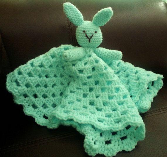 Crochet Lovey : SOLID COLOR!!! Crochet Bunny Lovey Blanket in Mint Green for by ...