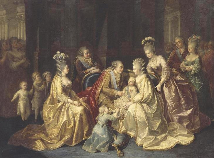 The Royal family in 1781 at the birth of the Dauphin Louis-Joseph. From left to right, the three Artois children, the Comtesse d'Artois, Artois, Louis XVI, Madame Royale, the Dauphin on Marie-Antoinette's lap, Madame Elisabeth, the Provences. Provence looks none too happy and his wife Madame was quite put out by the baby's birth. As Nesta Webster says in Louis XVI and Marie-Antoinette before the Revolution:  The truth is that it was the fact of [Marie-Antoinette] having children that increase...