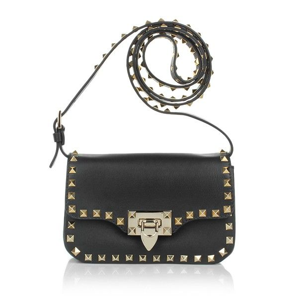 valentino 'rockstud - noir' leather shopper