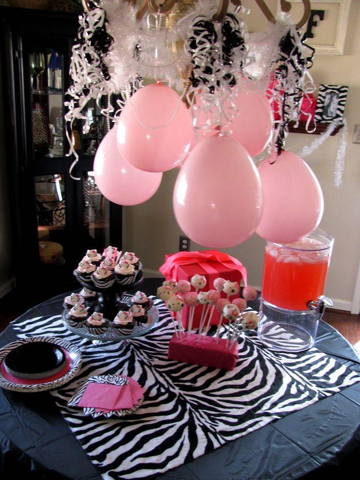 Table decor bebe 39 s hello kitty zebra print bithday party for Animal print party decoration ideas