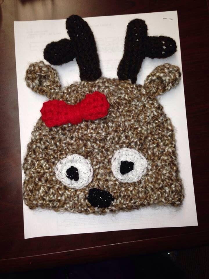 Crochet reindeer hat   baby craft ideas   Pinterest
