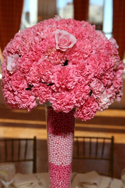 Pink carnations centerpiece gamma phi beta formal ideas