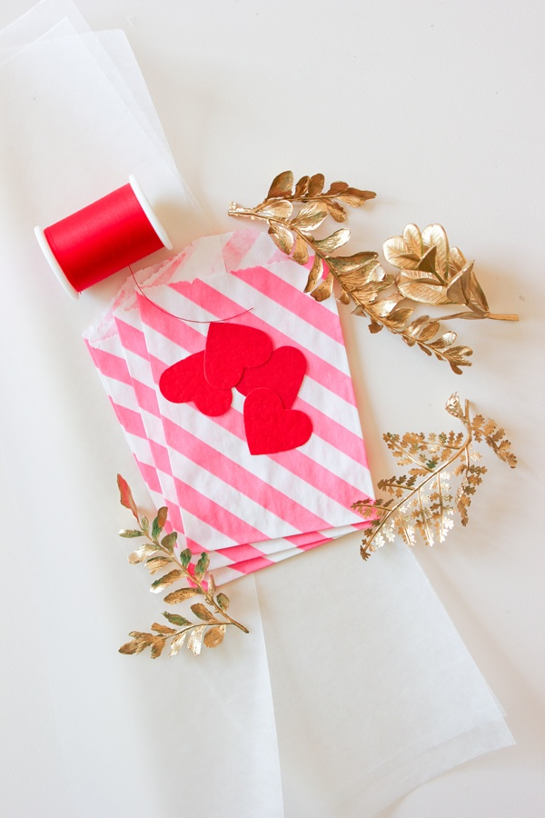 Pink, gold and hearts packaging
