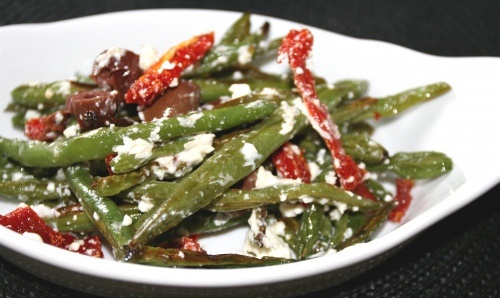 Roasted Green Bean Fries with olives and goat's cheese