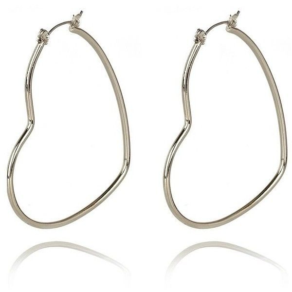 River Island Silver Tone Heart Hoop Earrings ❤ liked on Polyvore