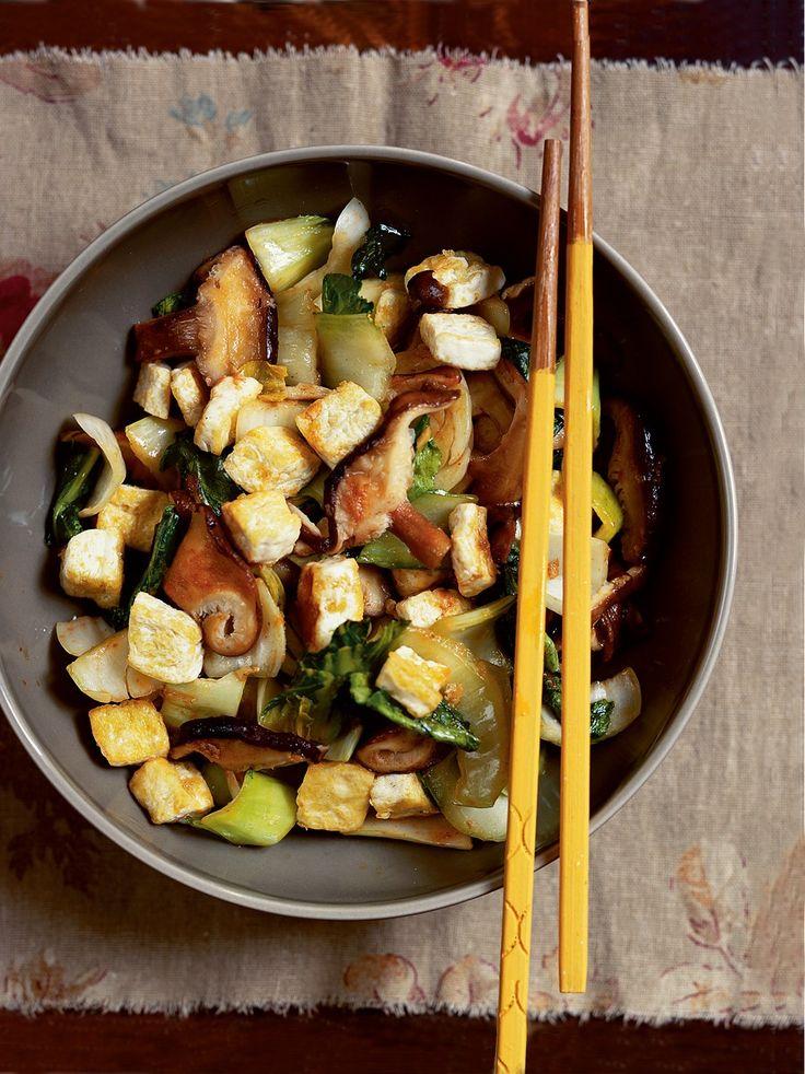 Stir-Fried Shiitake Mushrooms with Tofu and Bok Choy Recipe ...