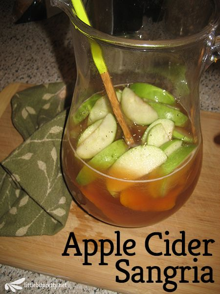 Apple Cider Sangria w/ apples, brandy and cinnamon! Perfect for fall.