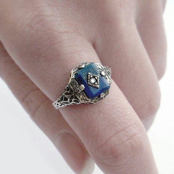 Lapis Lazuli Diamond Engagement Ring