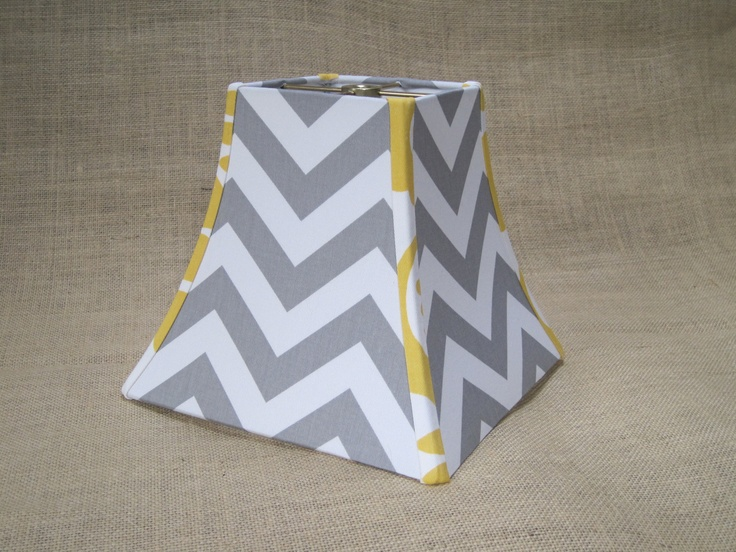 lamp shade chevron zig zag lampshade in gray grey white mustard yellow. Black Bedroom Furniture Sets. Home Design Ideas
