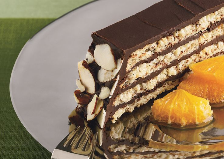 Almond-Macaroon Torte with Chocolate Frosting and Orange Compote - Bon ...