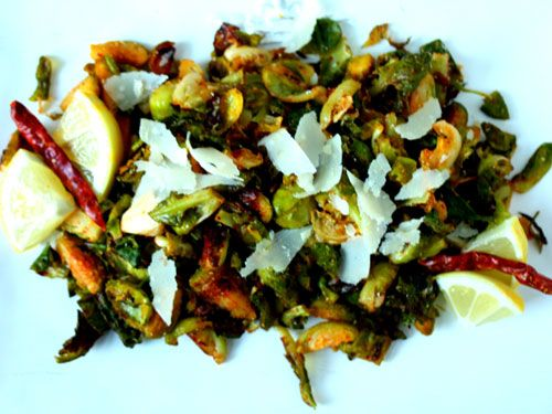 ... side: Crispy Roasted Brussels Sprouts with Lemon, Pecorino and Chili