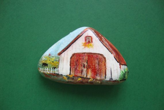 White+Barn+Hand+Painted+on+a+Rock+by+MJBousquet+on+Etsy,+$13.00