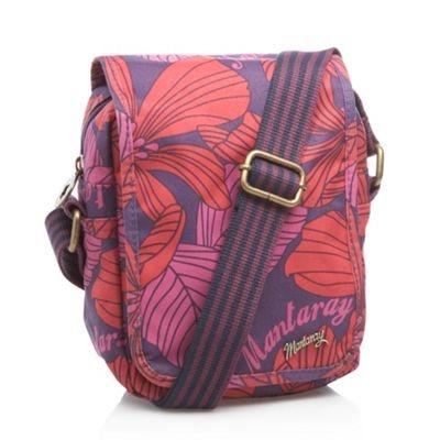 Purple floral printed across body bag, Debenhams