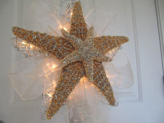 Lighted Christmas Tree Star Starfish Tree Topper