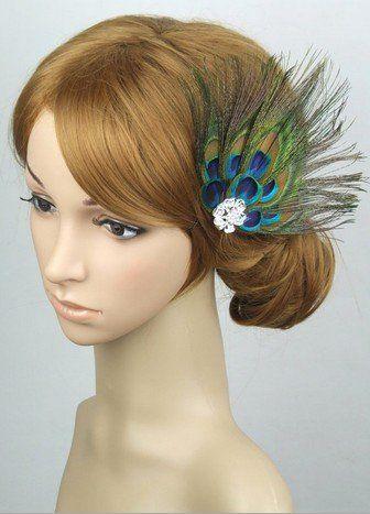 Cute party peacock feather hair clip hair pin efuture s nice keyring