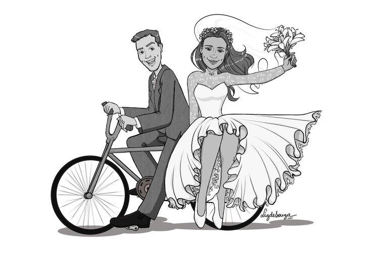Line Drawing Wedding Couple : Couple quot on ya bike pinterest