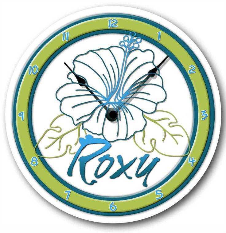 Blue flirt roxy clock personalized hibiscus m bedding byartist