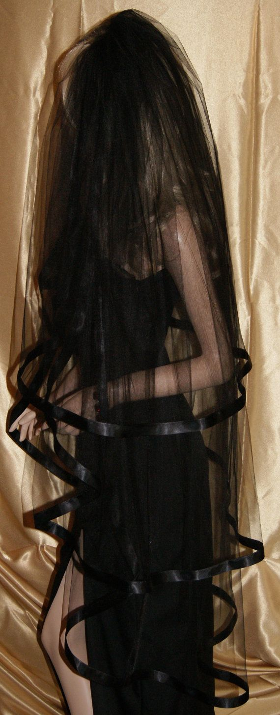 Wedding Veil Gothic Black Red Purple Pink White Ivory Beige Halloween