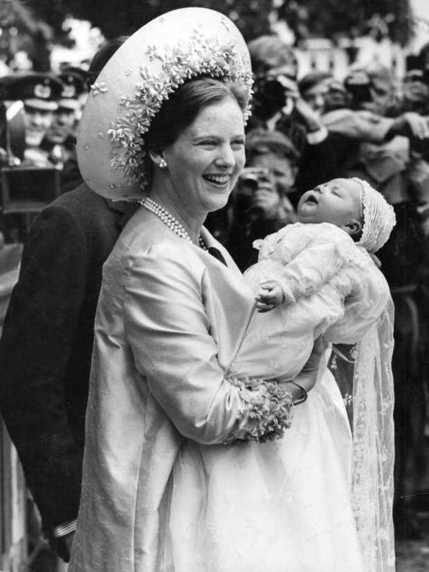 - June 24 1968, Crown Prince Frederik's baptism in the Church of Holmen, here held by his mother (then) Crown Princess Margrethe