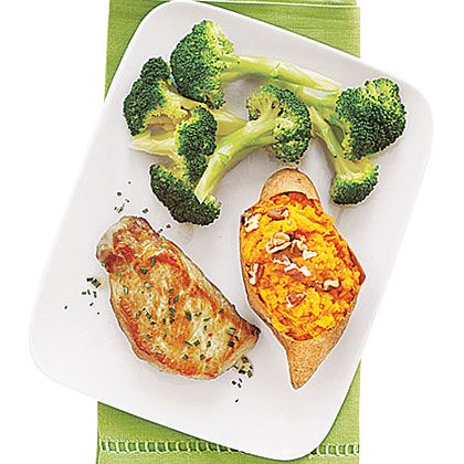 Twice-Baked Sweet Potatoes with Pork Chops | Recipe