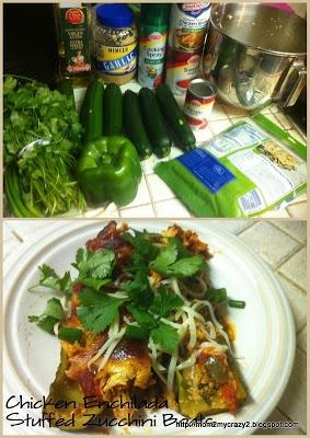 Chicken Enchilada Stuffed Zucchini Boats (3 Points)