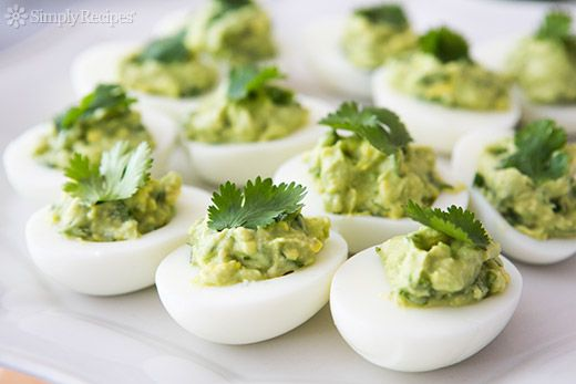 Guacamole Deviled Eggs Recipe | Simply Recipes Genius!!!!! no carb ...