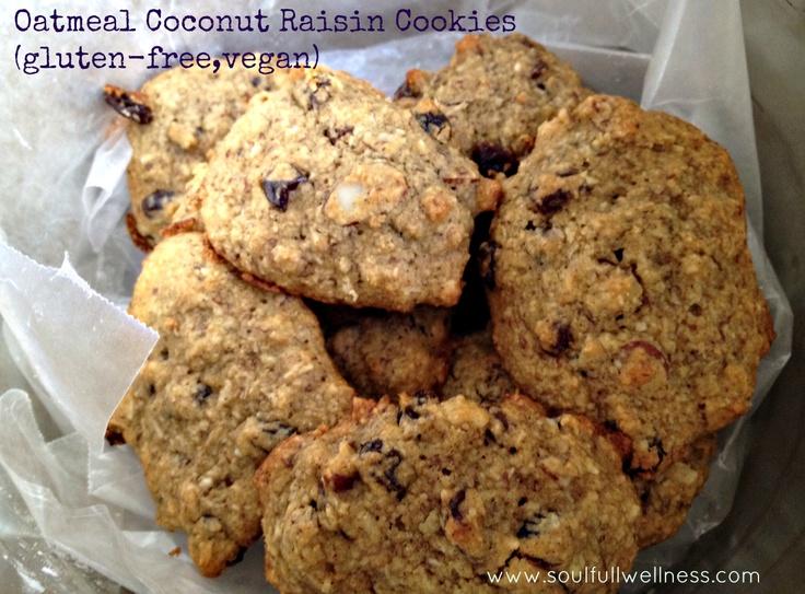 Oatmeal coconut raisin cookies (gluten-free, vegan) Soulfull ...