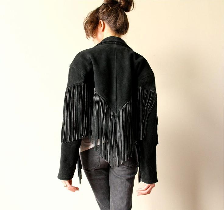 80s Fringed Leather Jacket, Boho hippie biker black crop New Wave cou