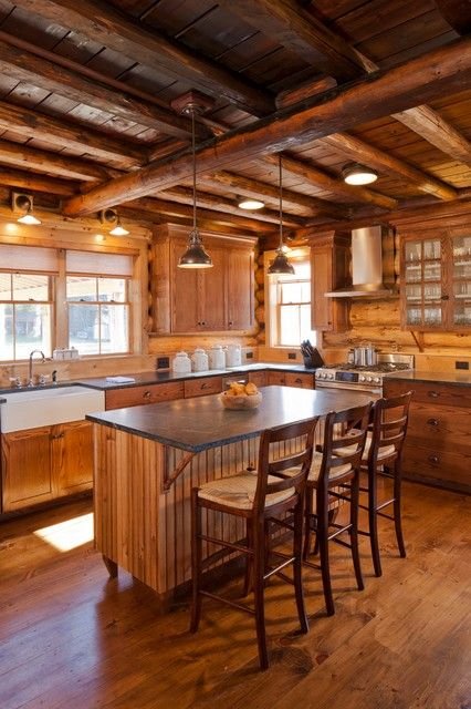 Beautiful Woodsy Rustic Kitchen Swiss Chalet Style Pinterest