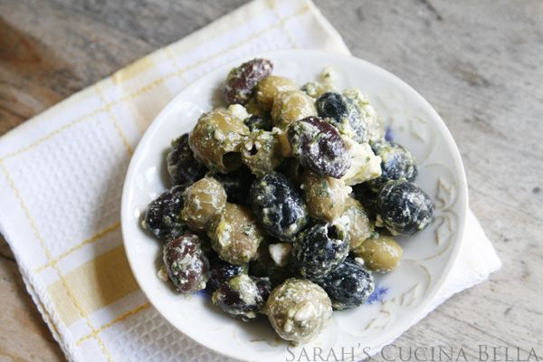 Lemon Garlic Herb Marinated Olives with Feta - Sarah's Cucina Bella