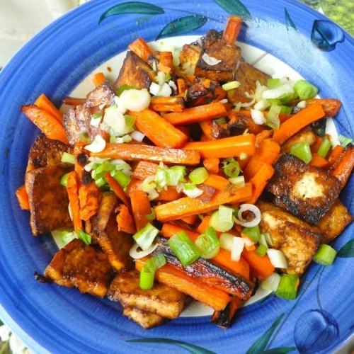 Soy glazed tofu and carrots