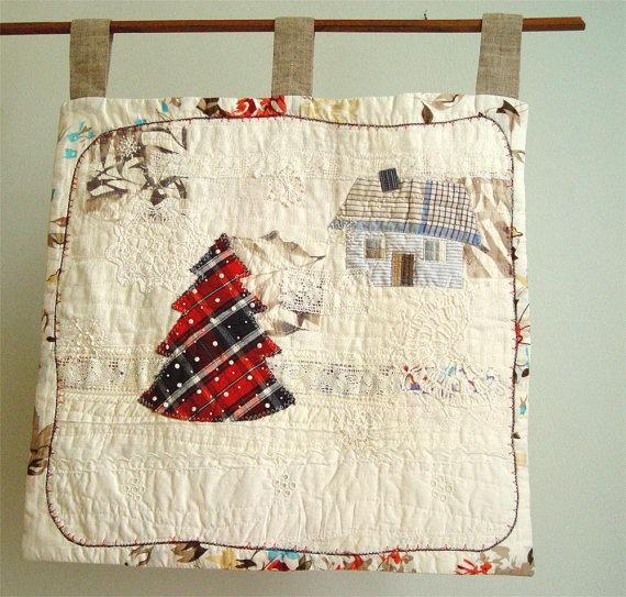 Winter Scene, Art Quilt, Home Decor, Red Blue White, Wall Art, Christmas Tree, Snow Landscape. $200.00, via Etsy.