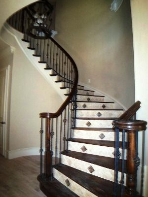 Wood tile combination on stairs interesting stairways - Stairs with tile and wood ...