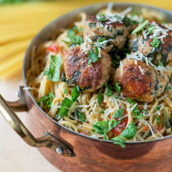 Spinach Turkey Meatball Pasta | You arε what u εat♨ | Pinterest