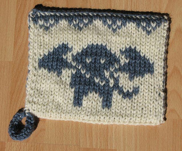 Knitting Pattern For A Pot Holder : Double Knit Elephant Potholder Knitting, Crochet, & Yarn Pinterest