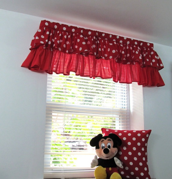 Window treatments for kids ruffled valance red by supplierofdreams